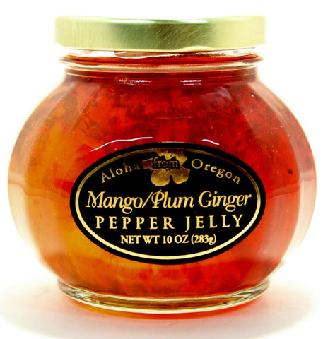 Aloha Mango/Plum Ginger Pepper Jelly. Net Wt. 10 oz.