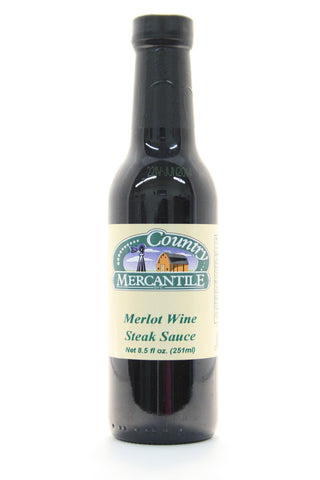 Country Mercantile Merlot Wine Steak Sauce. Net Wt. 8.5 oz.