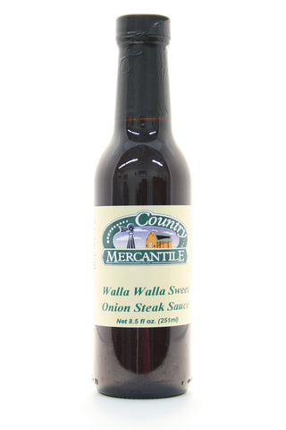 Country Mercantile Walla Walla Sweet Onion Steak Sauce. Net Wt. 12 oz.