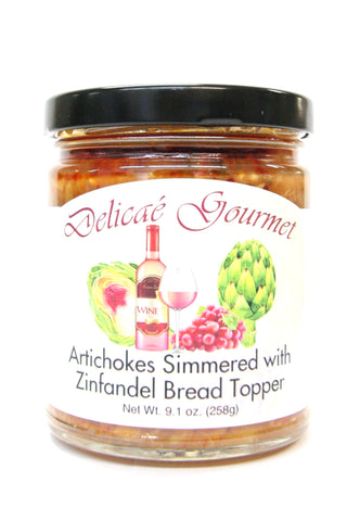 Delicae Gourmet Artichokes simmered with Zinfandel Bread Topper
