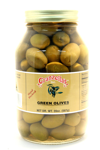 Granzella's Green Olives. Net Wt. 21 oz.
