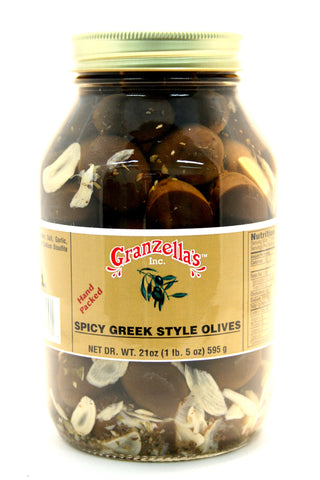 Granzella's Spicy Greek Style Olives. Net Wt. 21 oz.