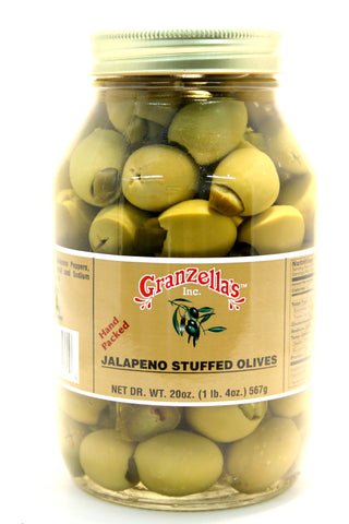 Granzella's Jalapeno Stuffed Olives. Net Wt. 21 oz.