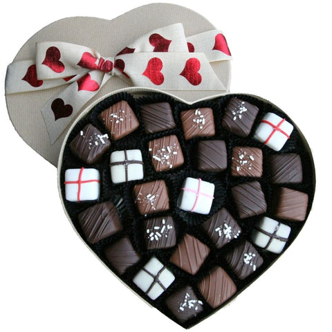 Assorted Chocolate Caramels in Heart-Shaped Box