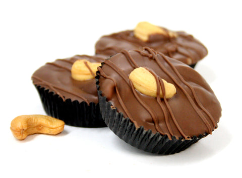 Hand Dipped Milk Chocolate Cashew Clusters. Net Wt. 1.00 lb.