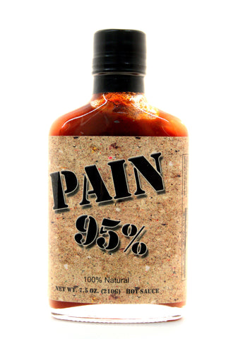 Original Juan Pain 95% Hot Sauce. Net Wt. 7.5 oz.