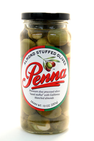 Penna Almond Stuffed Olives. Net Wt. 10 oz.