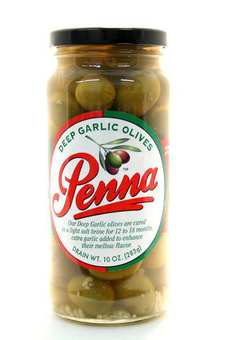 Penna Deep Garlic Olives. Net Wt. 10 oz.