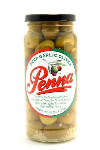 Penna Deep Garlic Pitted Olives. Net Wt. 10 oz.