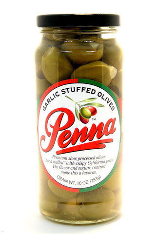 Penna Garlic Stuffed Olives. Net Wt. 10 oz.