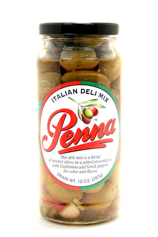 Penna Italian Deli Mixed Olives. Net Wt. 10 oz.