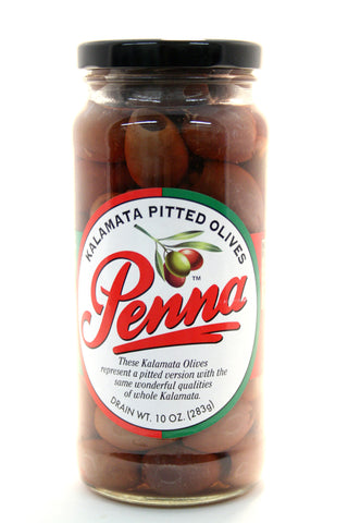 Penna Kalamata Pitted Olives. Net Wt. 10 oz.