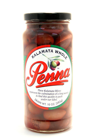 Penna Kalamata Whole Olives. Net Wt. 10 oz.