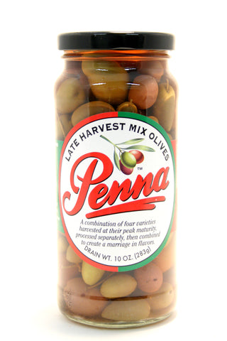 Penna Late Harvest Mixed Olives. Net Wt. 10 oz.