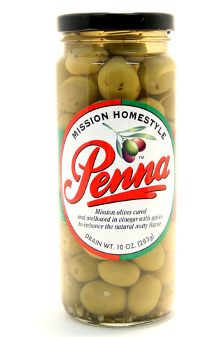 Penna Mission Homestyle Olives. Net Wt. 10 oz.