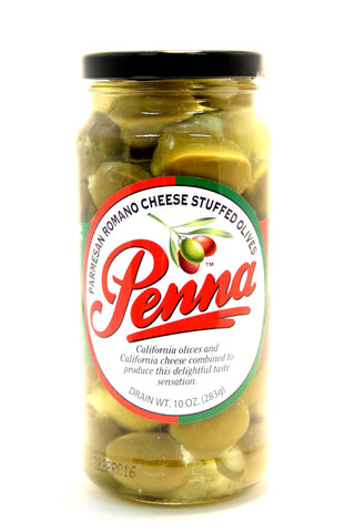 Penna Parmesan Romano Cheese Stuffed Olives. Net Wt. 10 oz.
