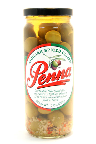 Penna Sicilian Spiced Olives - Net Wt. 10 oz.