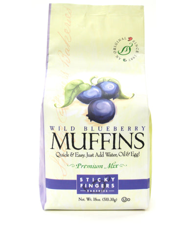 Sticky Fingers Premium Wild Blueberry Muffins - Net Wt. 18 oz.