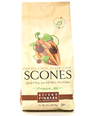 Sticky Fingers Cocoa Chocolate Chip Premium Scone Mix - Net Wt. 15 oz.