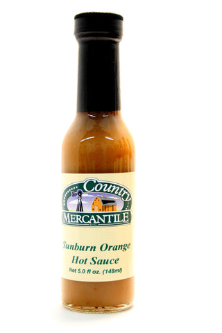 Country Mercantile Sunburn Orange Hot Sauce. Net Wt. 5 oz.