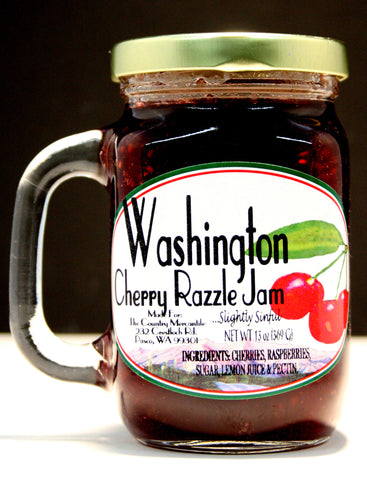 Washington Cherry Razzle Jam  Net wt 13 oz.
