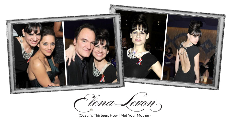 Elena Levon from Ocean's Thirteen and How I met your Mother wearing Vintage Bling Jewellery; with Quentin Tarantino and Marion Cotillard