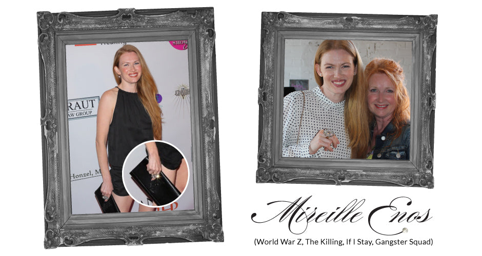Mireille Enos, one of the stars in World War Z, with Vintage Bling founder Dayle Goertzen