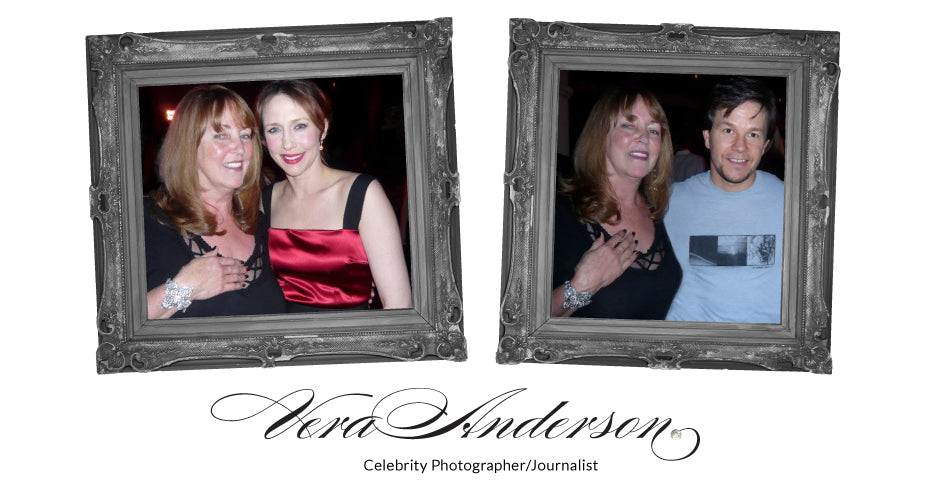 Vera Anderson, Celebrity Photographer/Journalist, pictured with Vera Farmiga and Mark Walhberg while wearing Vintage Bling Jewellery