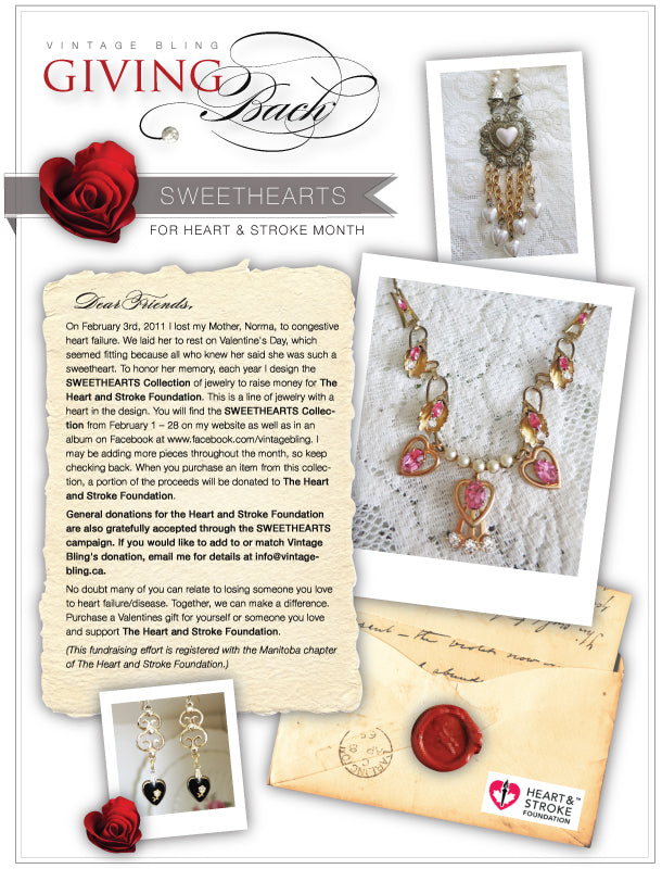 Vintage Bling's Sweetheart Collection in support of The Heart & Stroke Foundation