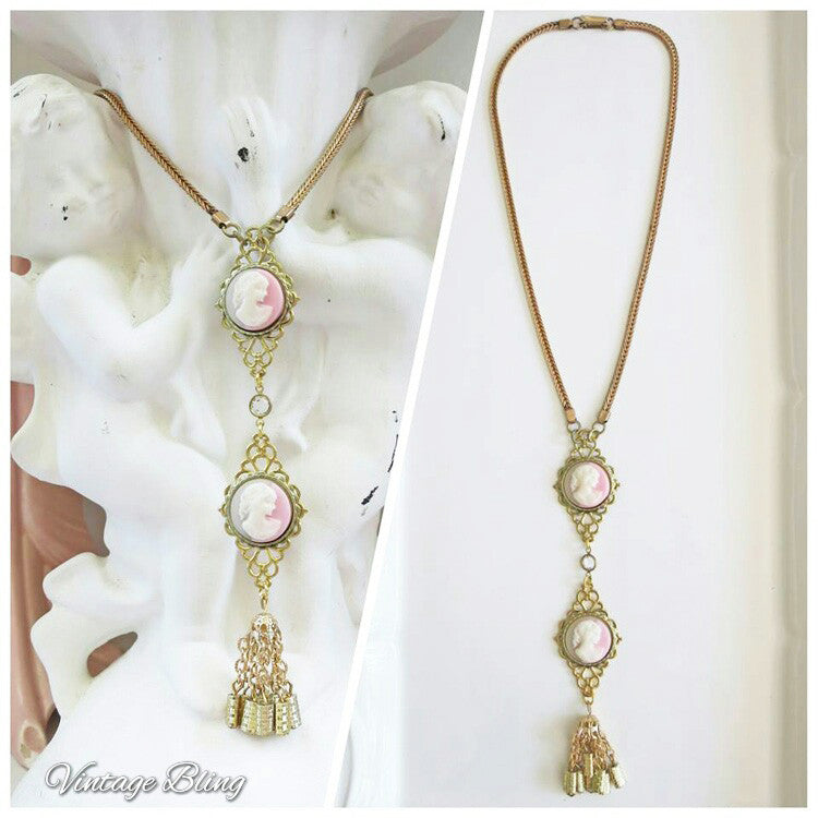 Double Trouble Pink Cameo Necklace