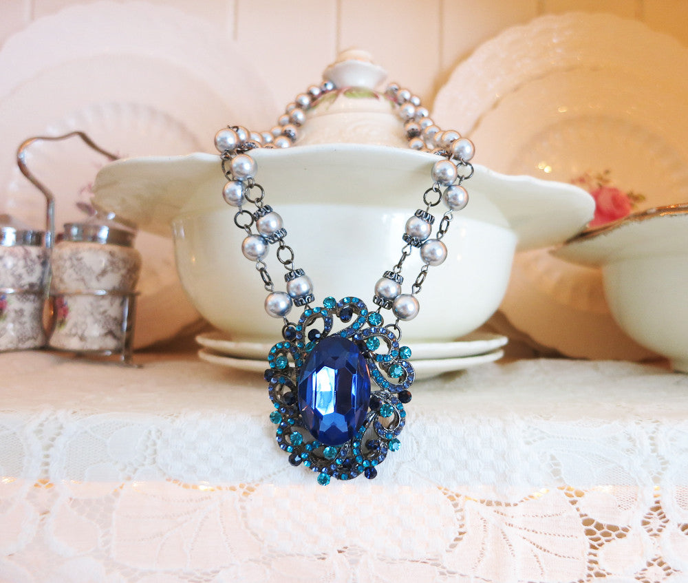 Sapphire Blue and Aqua Necklace with Silver Pearls