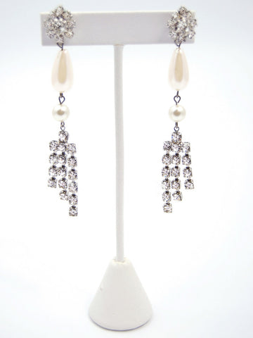 Pearl Teardrop With Cascading Rhinestones Earrings