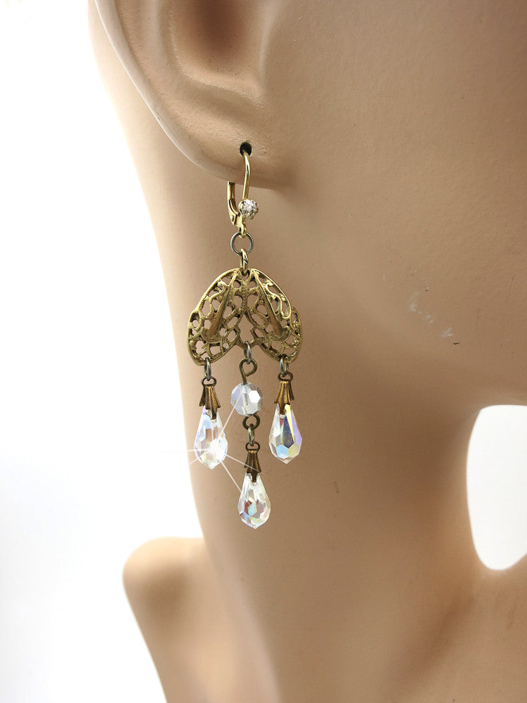 Crystal Teardrops with Gold Filigree Earrings