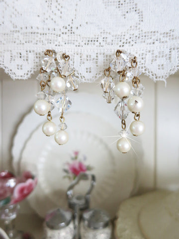 Crystal and Pearl Waterfall Earrings