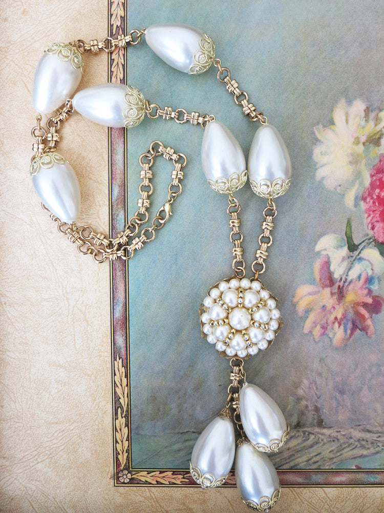 Chunky Pearl Teardrop Necklace