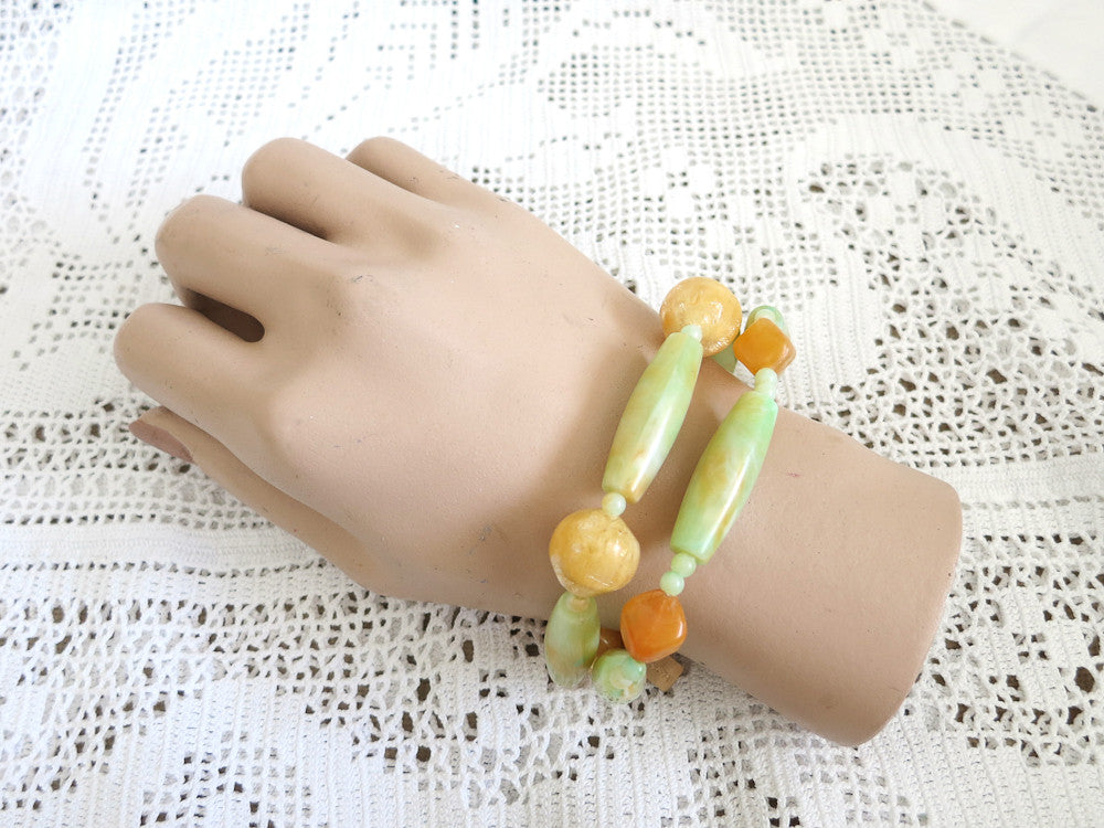 Butterscotch and Green Beaded Bracelets