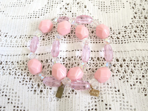 Pink Beaded Stretchy Bracelets