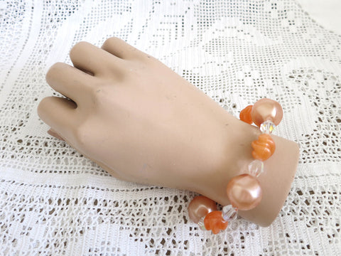 Orange Beaded Stretchy Bracelet