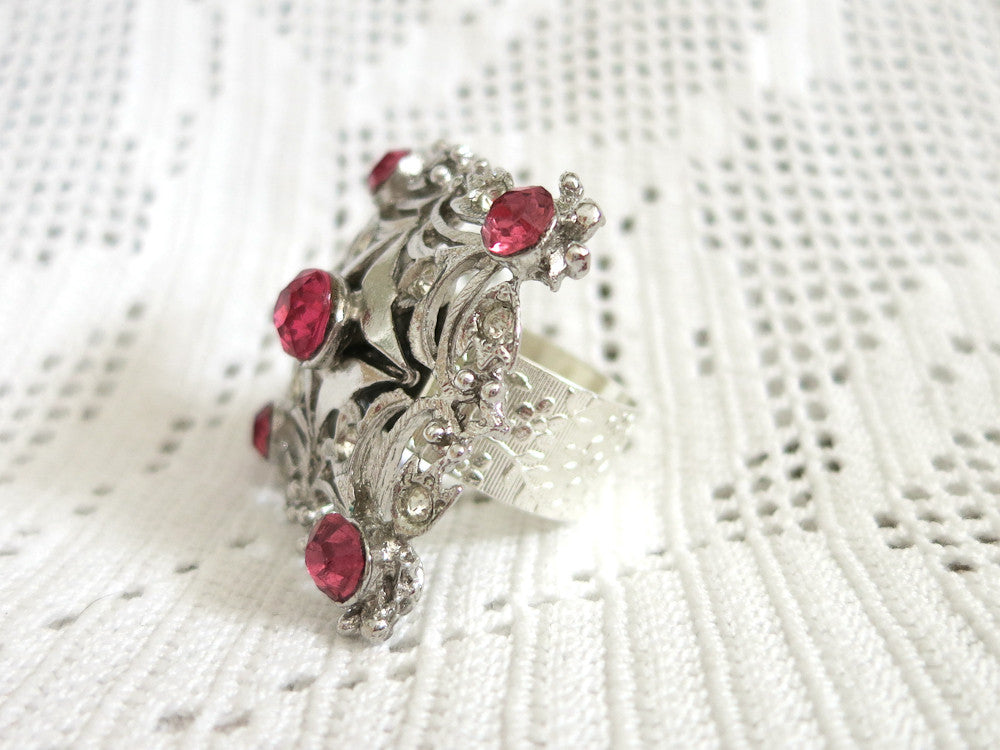 Art Deco With Pink Rhinestones Ring