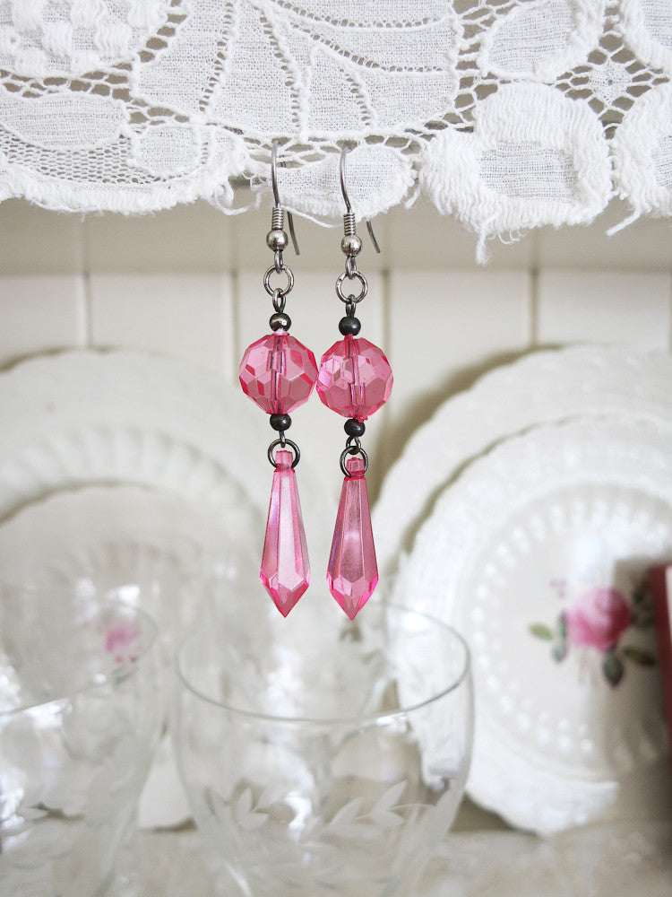 Pink Teardrop Earrings