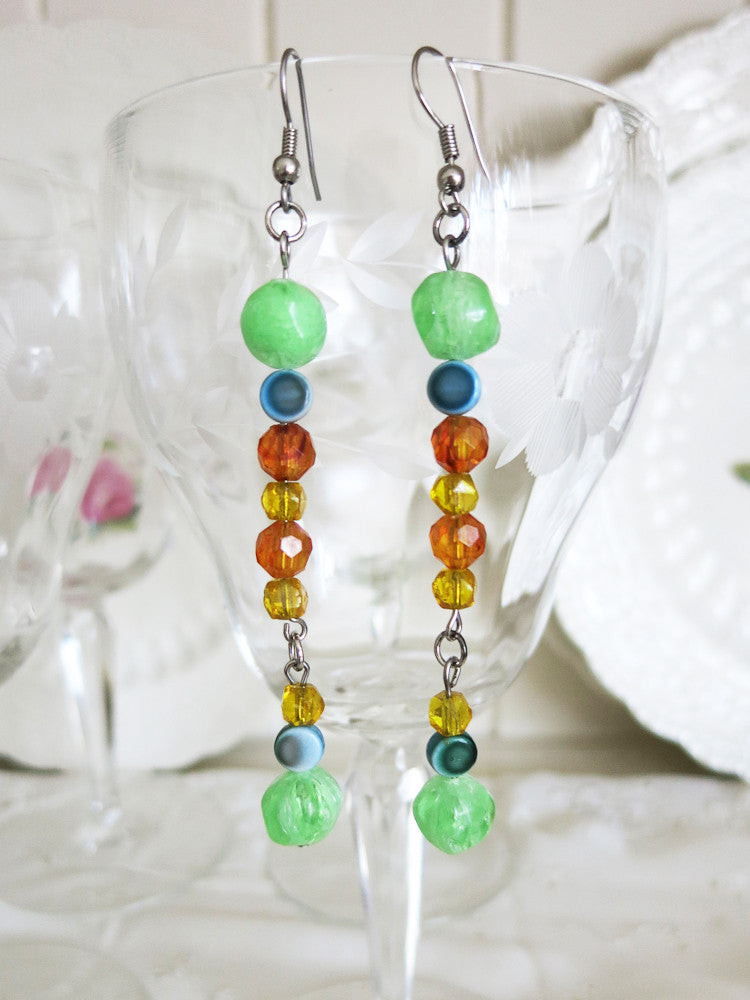 Mint and Butterscotch Earrings