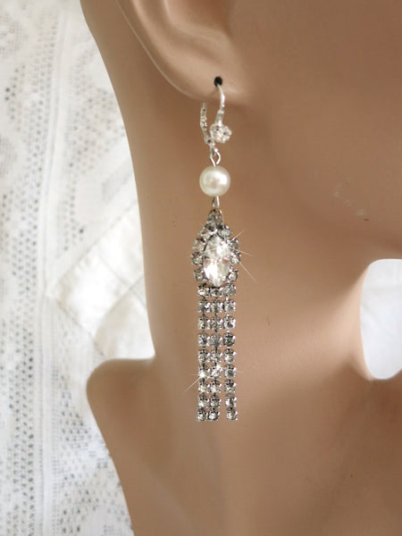 Pearl and Rhinestone Chandelier Earrings