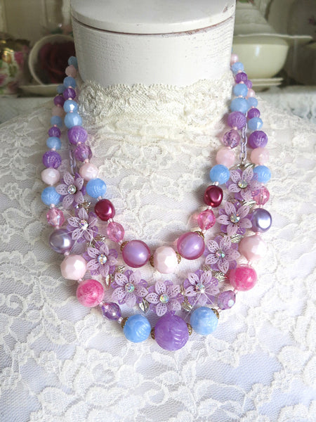 Pastel Beads With Purple Flowers Necklace