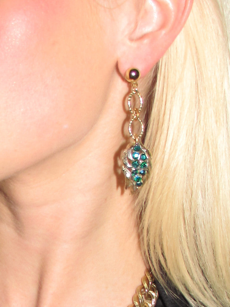 Gorgeous Teal Rhinestone Earrings
