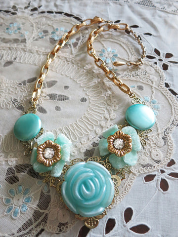 Robins Egg Blue Flower Collar Necklace
