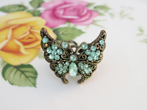 Green Butterfly Ring