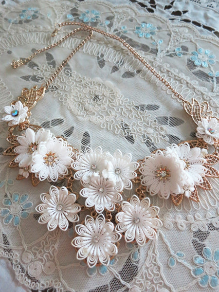 White Flowers Collar/Bib Necklace