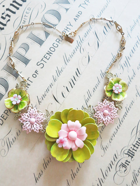 Pink & Green Flower Collar/Necklace