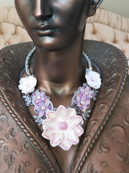 Lilac Flowers Collar/Necklace