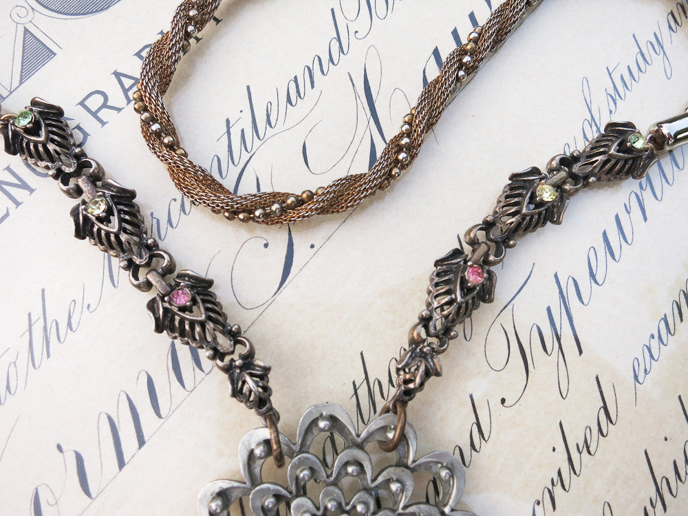 Pewter & Brass Long Necklace